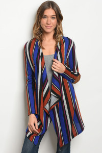 C52-A-5-C78462 ROYAL EARTH STRIPES CARDIGAN 2-2-2