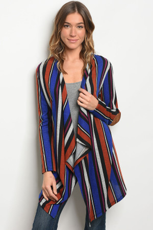 C53-A-1-C78462 ROYAL EARTH STRIPES CARDIGAN 2-1