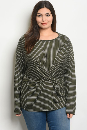 C86-A-3-T2137X OLIVE STRIPES PLUS SIZE TOP 2-2-2