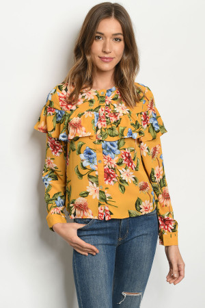 S23-7-6-T10241 MUSTARD FLORAL TOP 2-2-2