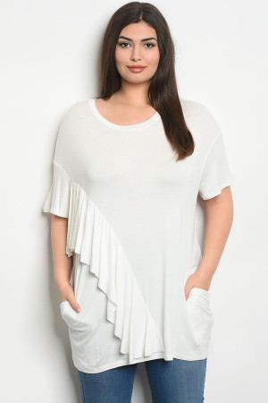 C77-A-4-T3054X WHITE PLUS SIZE TOP 2-2-2