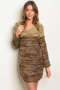 S10-15-1-D9003 BROWN MUSTARD SWEATER DRESS 3-3