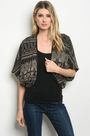 C17-B-1-C8484 BLACK GOLD CARDIGAN 2-2-3