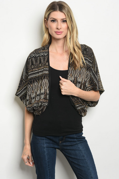 C17-B-1-C8484 BLACK GOLD CARDIGAN 2-2-3  ***WARNING: California Proposition 65***
