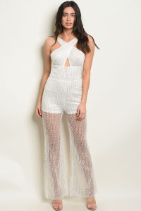 S12-9-1-J40581 WHITE WITH SEQUINS JUMPSUIT 2-2-2  ***WARNING: California Proposition 65***