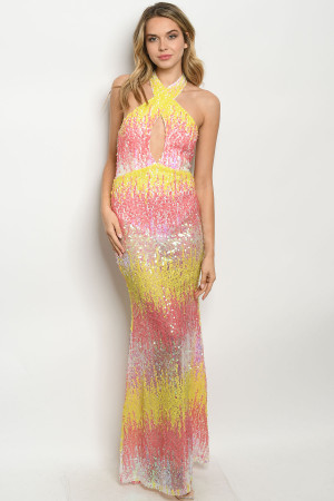 S11-9-1-D40801 PINK YELLOW WITH SEQUINS DRESS 2-2-2  ***WARNING: California Proposition 65***