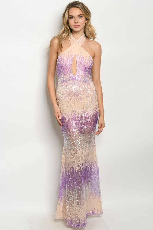 S12-10-4-D40801 PURPLE BLUSH WITH SEQUINS DRESS 2-2-2  ***WARNING: California Proposition 65***