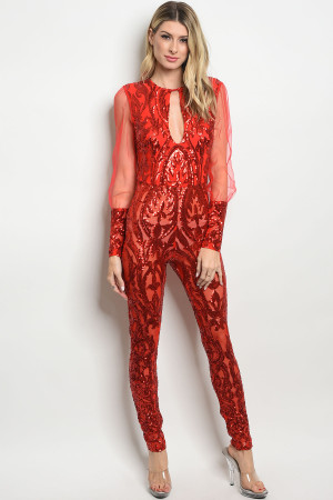 S11-12-5-J106581 RED WITH SEQUINS JUMPSUIT 2-2-2