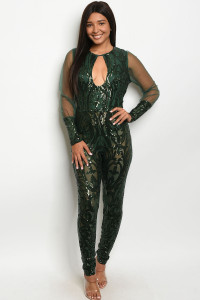 S11-12-5-J106581 GREEN WITH SEQUINS JUMPSUIT 2-2-2  ***WARNING: California Proposition 65***