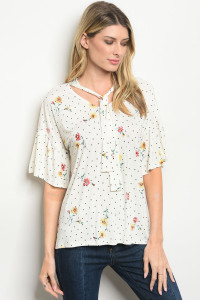 C36-B-2-T0788 IVORY FLORAL TOP 2-2-2