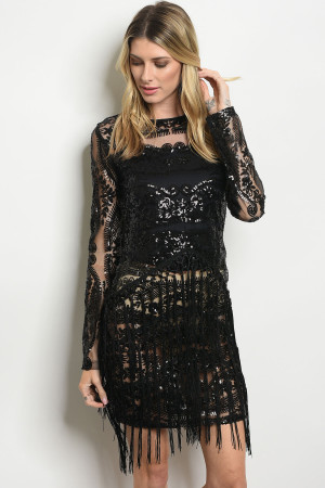 S12-7-5-D202891 BLACK WITH SEQUINS DRESS 2-2-2