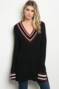 S23-8-6-S4147 BLACK BURGUNDY SWEATER 2-2-2