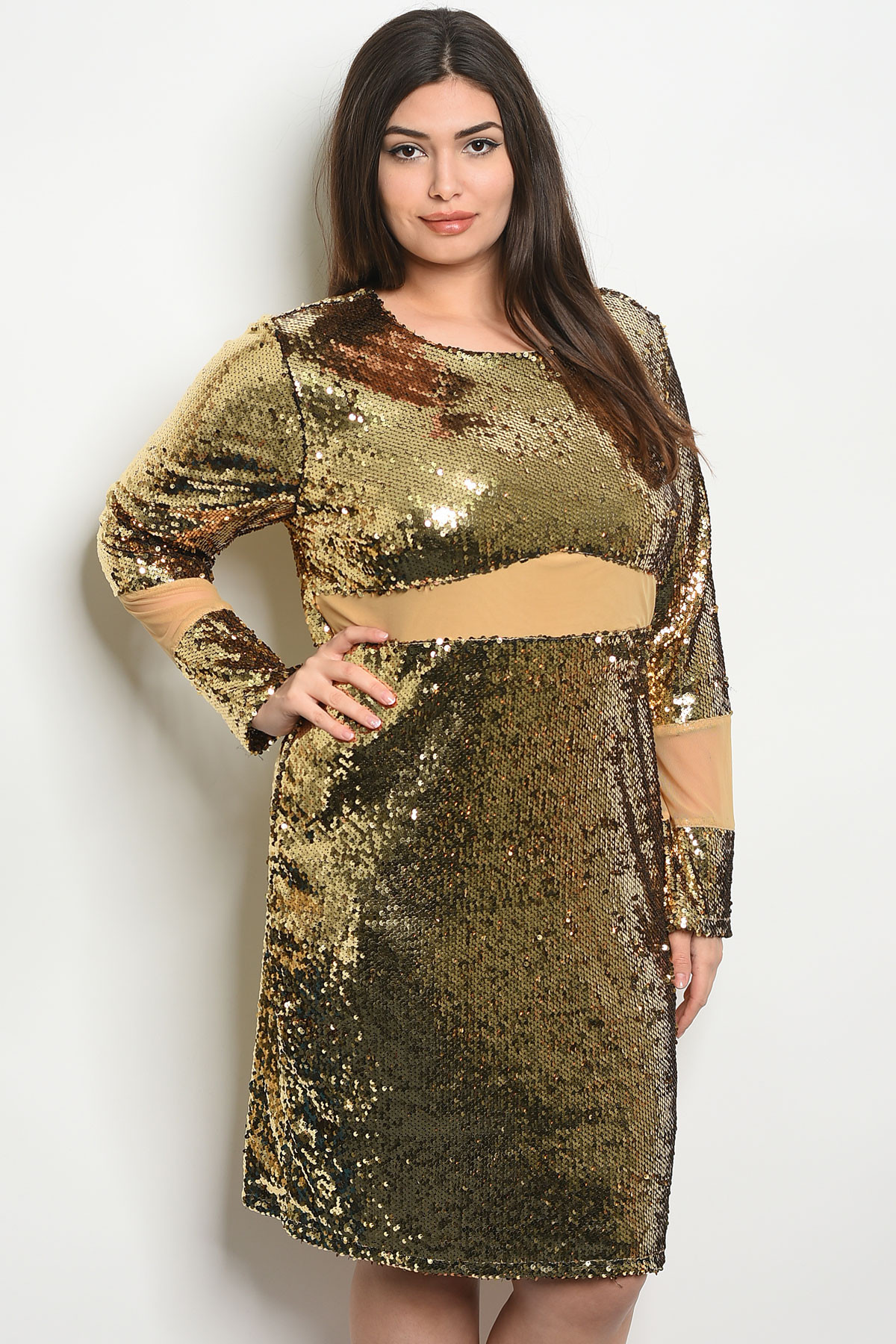 S25-5-2-D10223X GOLD WITH SEQUINS PLUS SIZE DRESS 2-2-2 ***WARNING:  California Proposition 65***