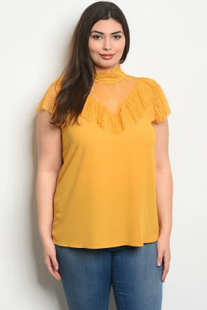 S25-3-4-T58523X MUSTARD PLUS SIZE TOP 2-2-2