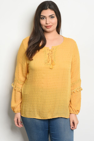 S25-3-4-T38700X MUSTARD PLUS SIZE TOP 2-2-2