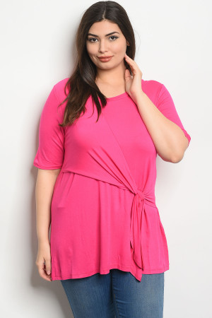 C91-A-4-T2088X FUCHSIA PLUS SIZE TOP 2-2-2