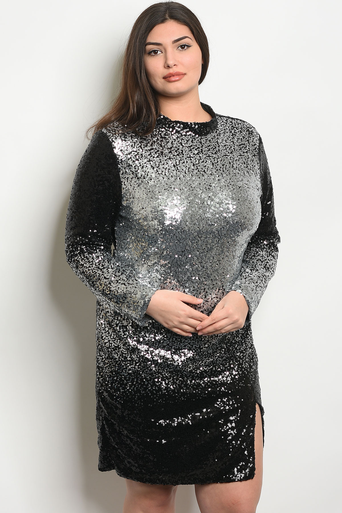 S25-2-3-D59450X BLACK SILVER WITH SEQUINS PLUS SIZE DRESS 2-2-2 ***WARNING:  California Proposition 65***
