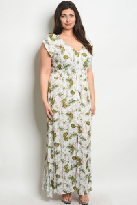 S22-4-5-D20477X OFF WHITE FLORAL PLUS SIZE DRESS 2-2-2