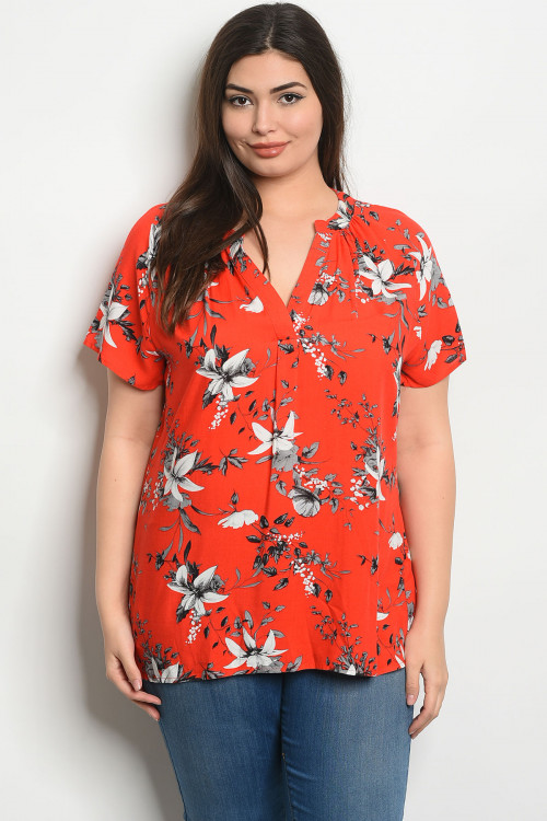 S22-10-4-T58527X CORAL FLORAL PLUS SIZE TOP 2-2-2
