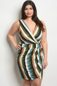 C65-A-5-D0467X OLIVE MULTI PLUS SIZE DRESS 2-2-2