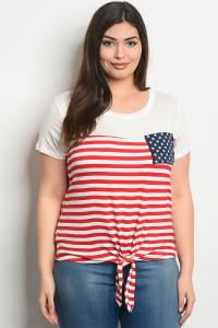 C61-A-2-T0260X IVORY RED STRIPES PLUS SIZE TOP 2-2-2