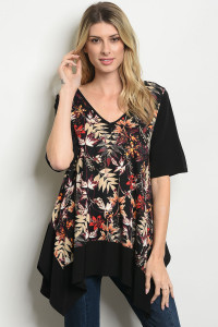 S15-10-1-T192 BLACK TAN FLORAL TOP 1-2-2-1