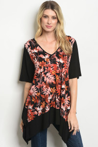 S19-12-4-T192 BLACK EARTH FLORAL TOP 1-2-2-1