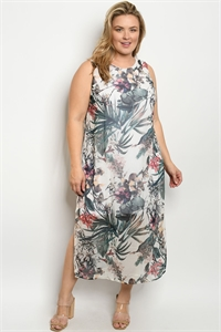 S24-8-2-D445FX CREAM GREEN FLORAL PLUS SIZE DRESS 2-2-2