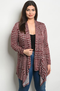 S25-8-3-C8690HTX WINE GRAY PLUS SIZE CARDIGAN 2-2-2