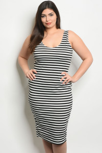 C37-A-2-D97492X BLACK WHITE STRIPES PLUS SIZE DRESS 2-2-2