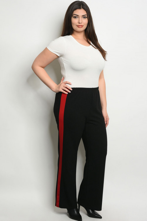 C33-A-4-P9753X BLACK RED PLUS SIZE PANTS 2-2-2
