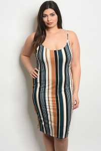 C29-A-3-D0535X IVORY TEAL STRIPES PLUS SIZE DRESS 2-2-2