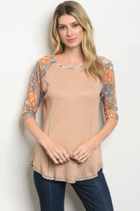 C22-B-4-T25722 TAUPE BLUE TOP 2-2-2
