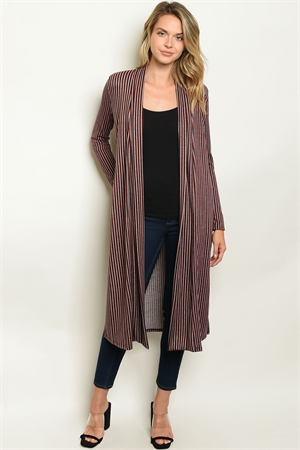 C89-A-1-C50200 BURGUNDY IVORY STRIPES CARDIGAN 1-2-2