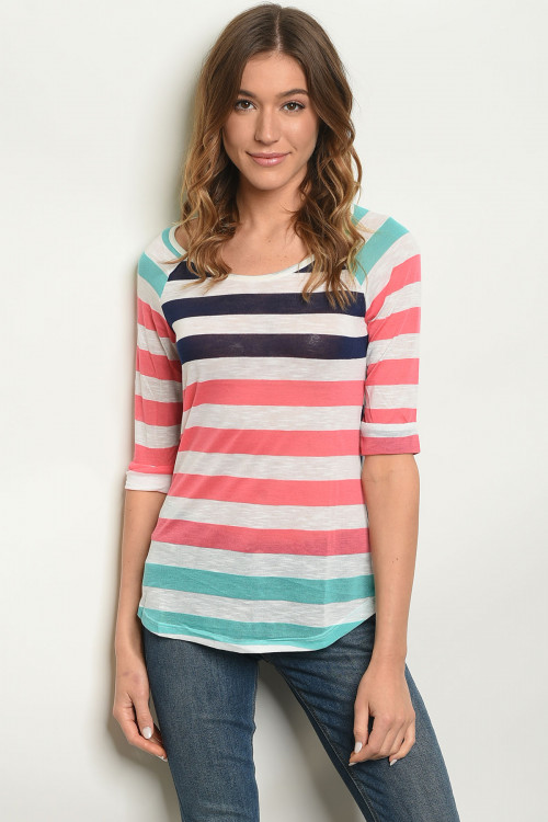 S21-3-3-T27702 NAVY CORAL STRIPES TOP 2-2-2