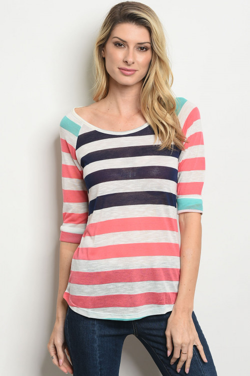 S17-3-2-T27702 NAVY CORAL STRIPES TOP 1-1-1