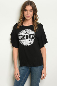 "S21-3-2-T31918 BLACK WHITE WITH ""MOM LIFE"" PRINT TOP 1-2-2-1"
