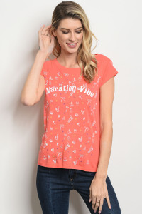 "S20-8-4-T61288 CORAL WITH ""VACATION VIBE"" PRINT TOP 2-2-2"