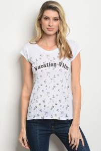 "S22-12-5-T61288 WHITE WITH ""VACATION VIBE"" PRINT TOP 2-2-2"
