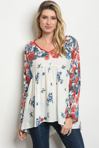 S24-3-3-T2412 OFF WHITE FLORAL TOP 2-2-2