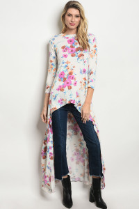 S23-5-4-T1436 IVORY FLORAL TOP 2-2-2