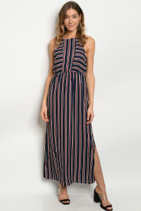 S21-3-5-D3885 NAVY STRIPES DRESS 3-2-1