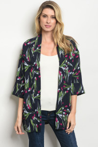 S22-10-5-C3718 NAVY WITH FLOWER PRINT CARDIGAN 3-2-1