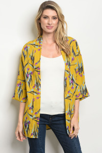 S21-12-5-C3718 MUSTARD WITH FLOWER PRINT CARDIGAN 3-2-1