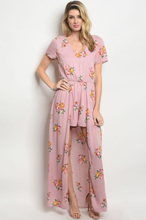 C12-A-4-R8773A BLUSH FLORAL ROMPER DRESS 3-2-1