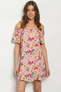 C47-B-1-D8875 PEACH YELLOW FLORAL DRESS 5-2-1