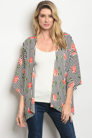 C49-A-2-CT1001A BLACK WHITE STRIPES CARDIGAN 3-2-1