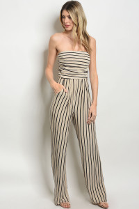 Z-B-NA-J19165 TAUPE BLACK STRIPES JUMPSUIT 2-2-2