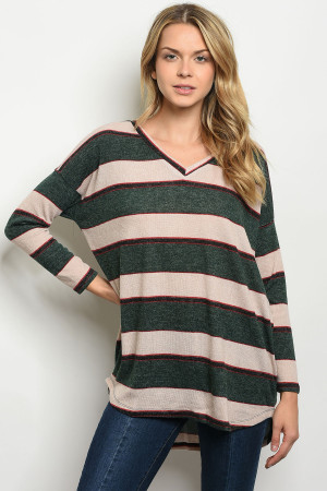 S11-12-1-T8103 GREEN TAN SWEATER 2-2-2