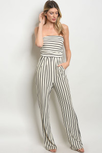 C44-A-6-NA-J19165 IVORY BLACK STRIPES JUMPSUIT 2-2-1